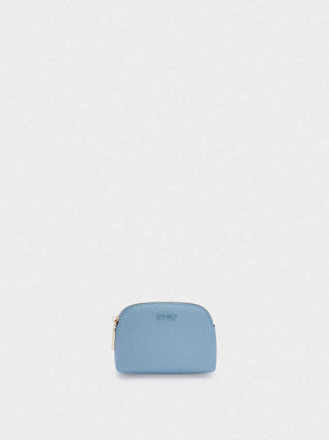 Plain Coin Purse With Zip Fastening, Blue, hi-res