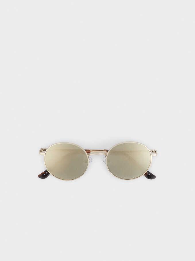 Gafas De Sol Metálicas Redondas, Plateado, hi-res