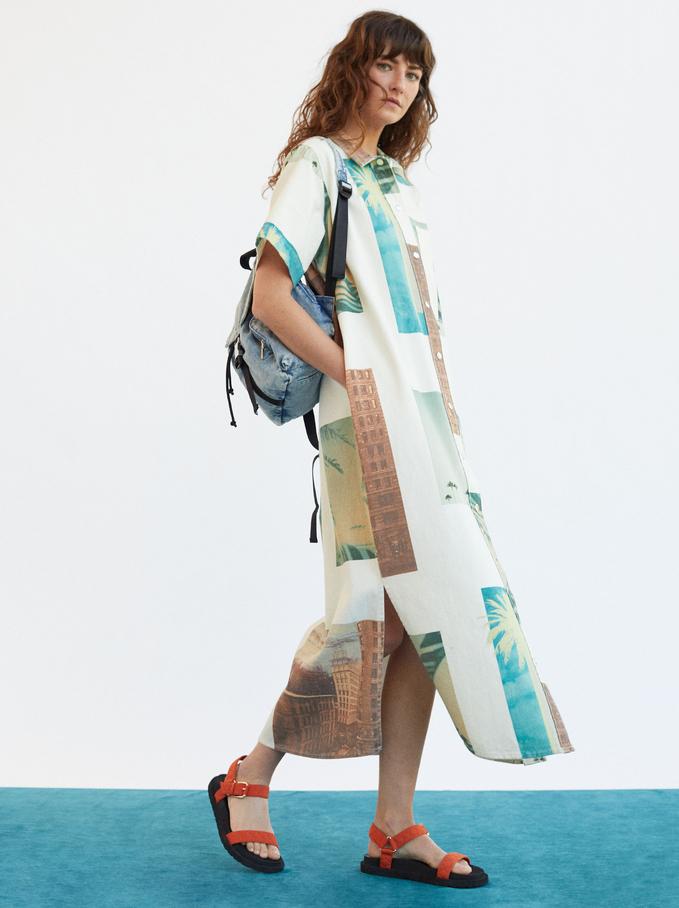 Palm Tree Print Shirt Dress, Ecru, hi-res