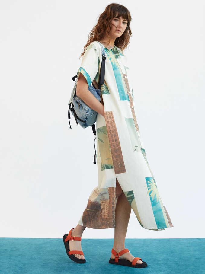 Limited Edition Palm Tree Print Shirt Dress, Ecru, hi-res