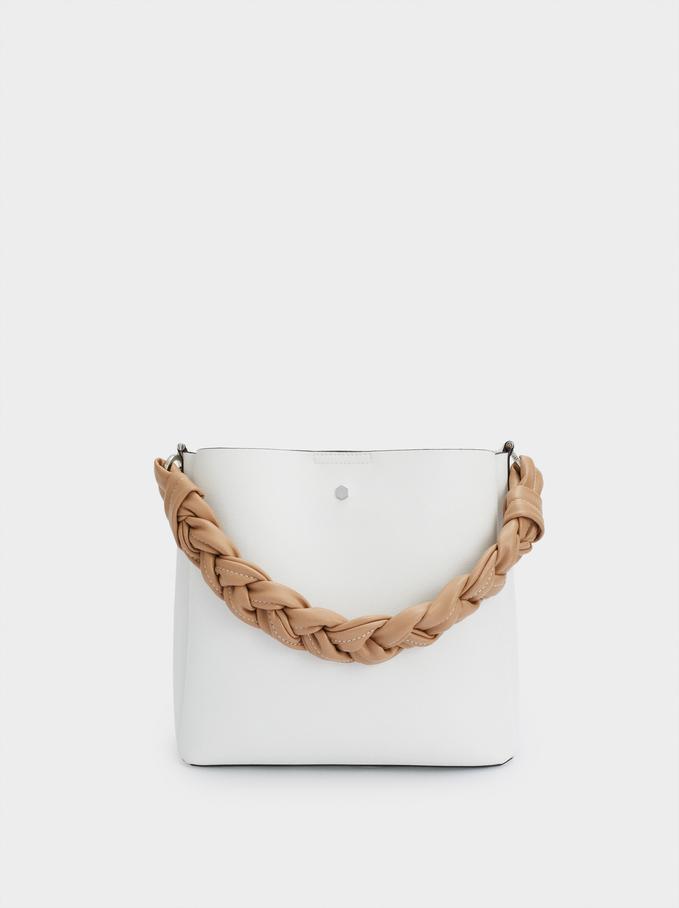 Handbag With Braided Handle, White, hi-res