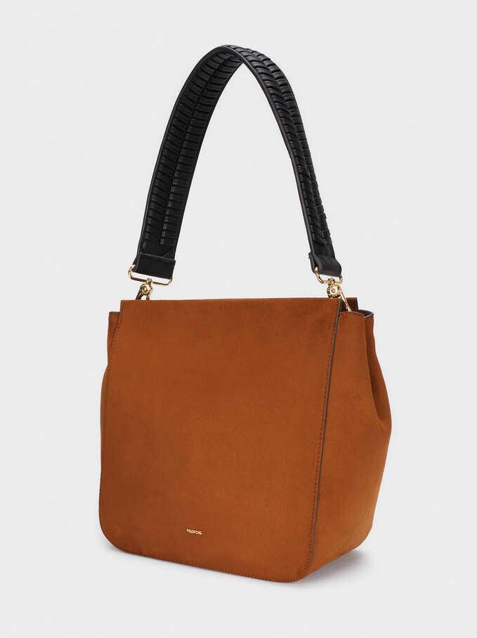 Faux Suede Shoulder Bag With Detachable Shoulder Strap, Camel, hi-res
