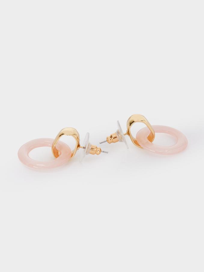Short Pink Earrings, Pink, hi-res