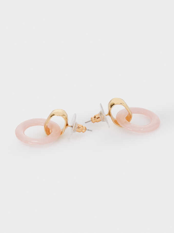 Short Pink Earrings, Pink, hi-res