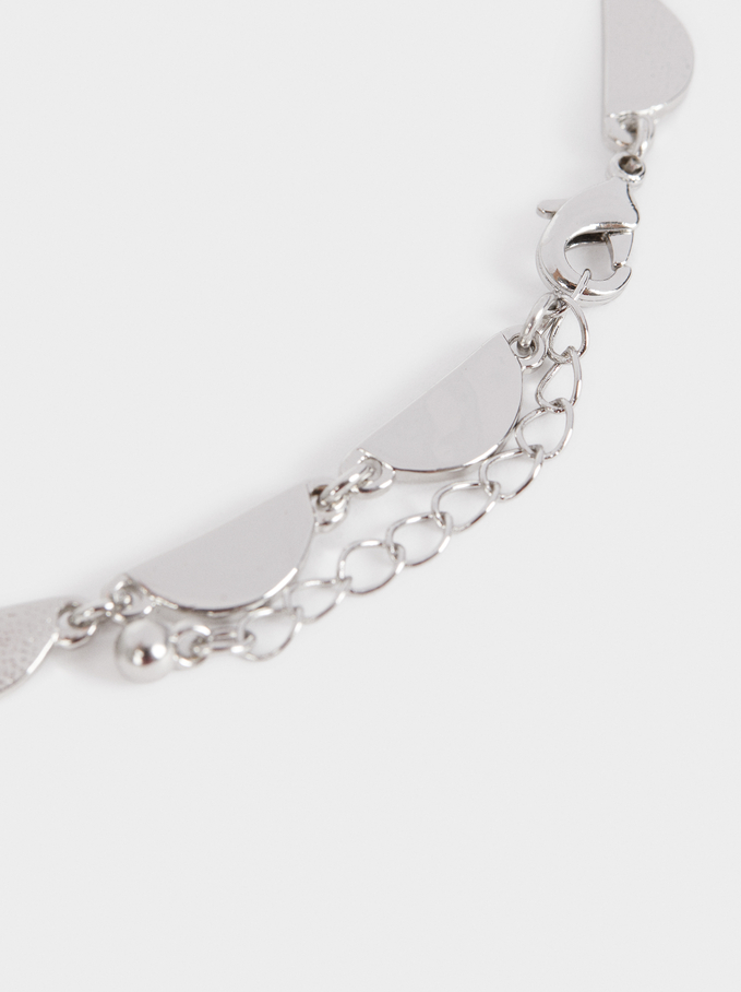 Silver-Plated Short Necklace, Silver, hi-res