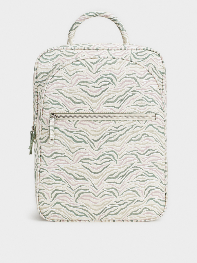Print Backpack, Ecru, hi-res
