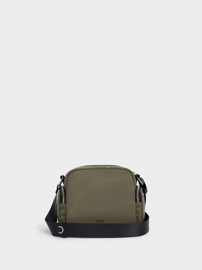 Nylon Crossbody Bag With Outer Pockets, Khaki, hi-res