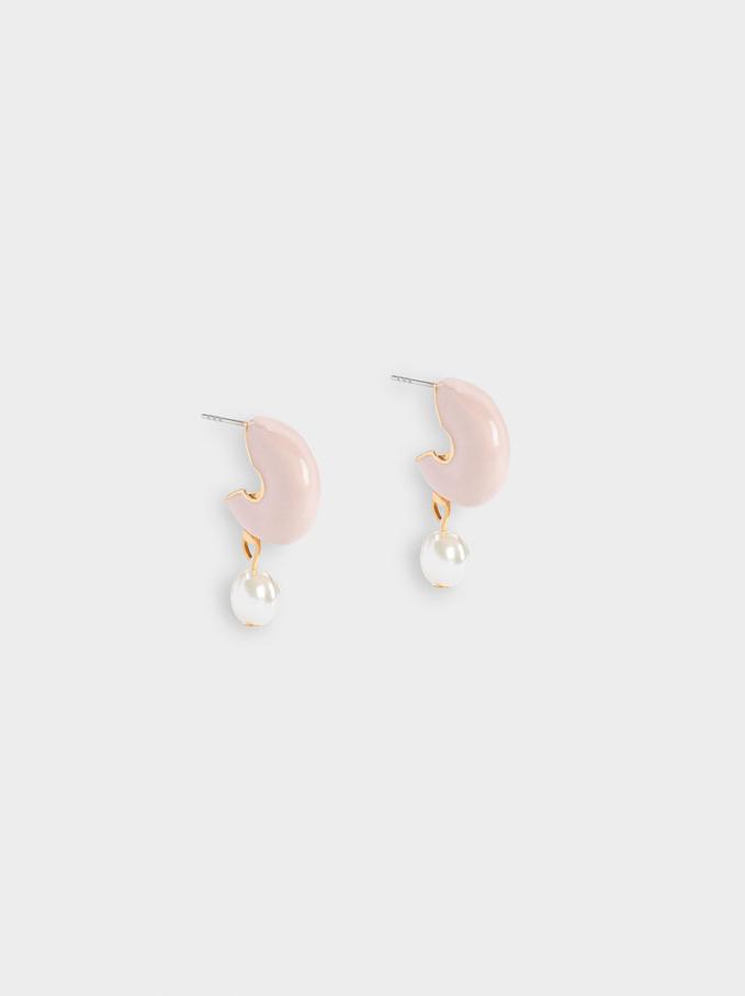 Short Hoop Earrings With Pearls, Pink, hi-res