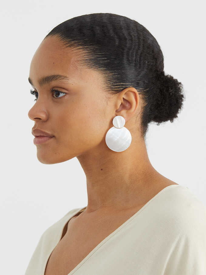 Long Shell Earrings, Golden, hi-res