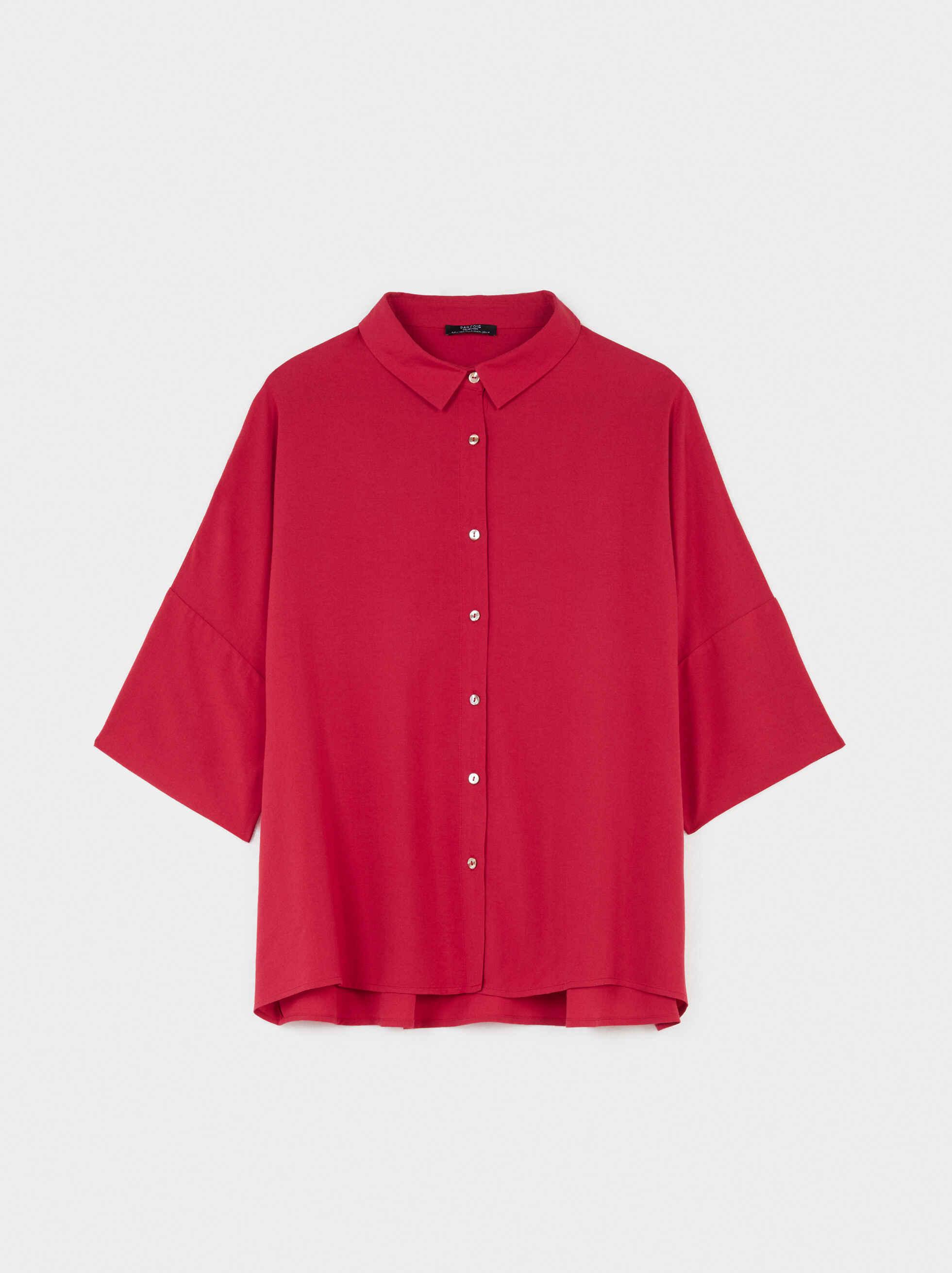 Plain Oversized Shirt, Red, hi-res