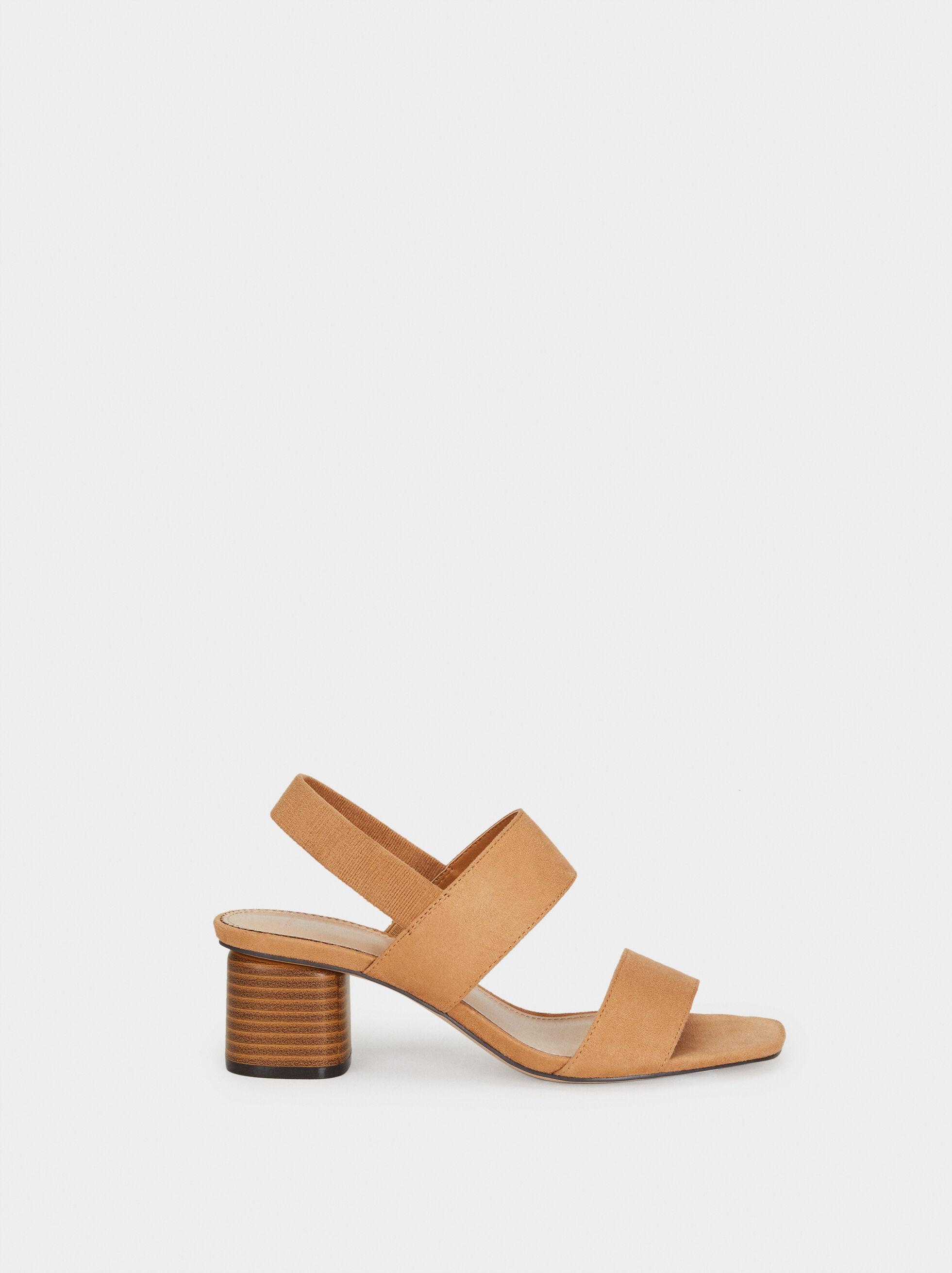Mid-Heel Sandals With Elasticated