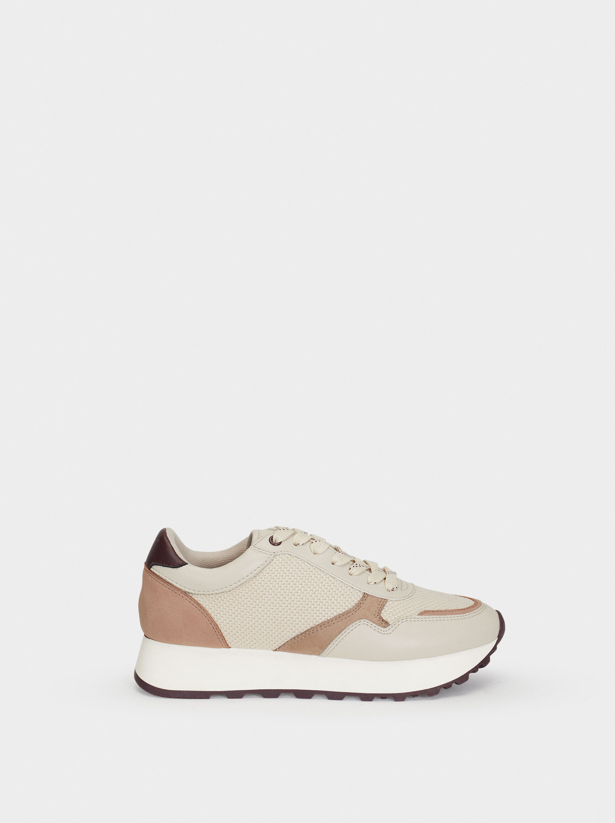 Suede Texture Trainers With Mesh, , hi-res
