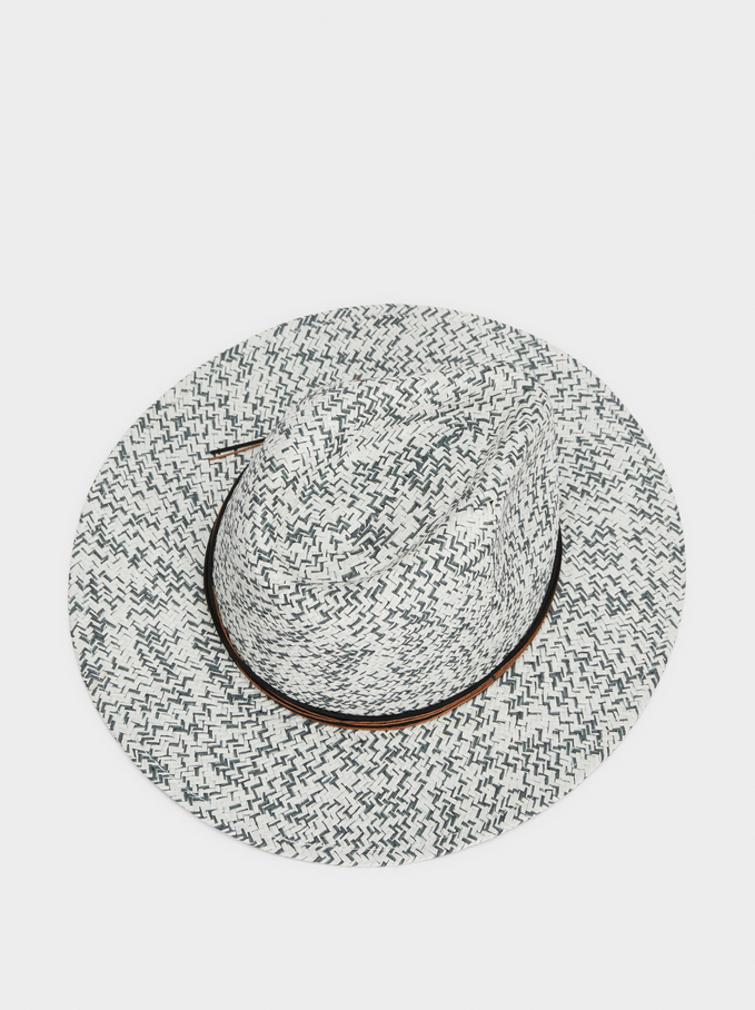 Mottled Raffia Hat, White, hi-res