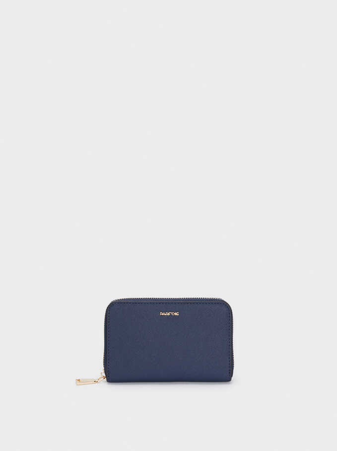Plain Compact Purse, Navy, hi-res