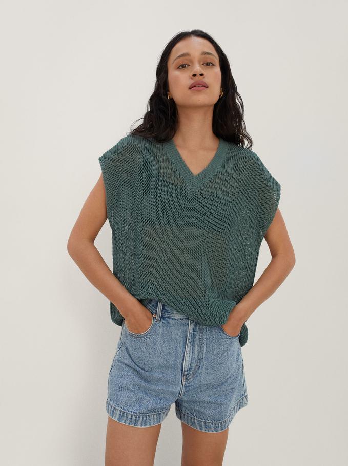 Camisola De Malha Com Decote Em Bico, Verde, hi-res