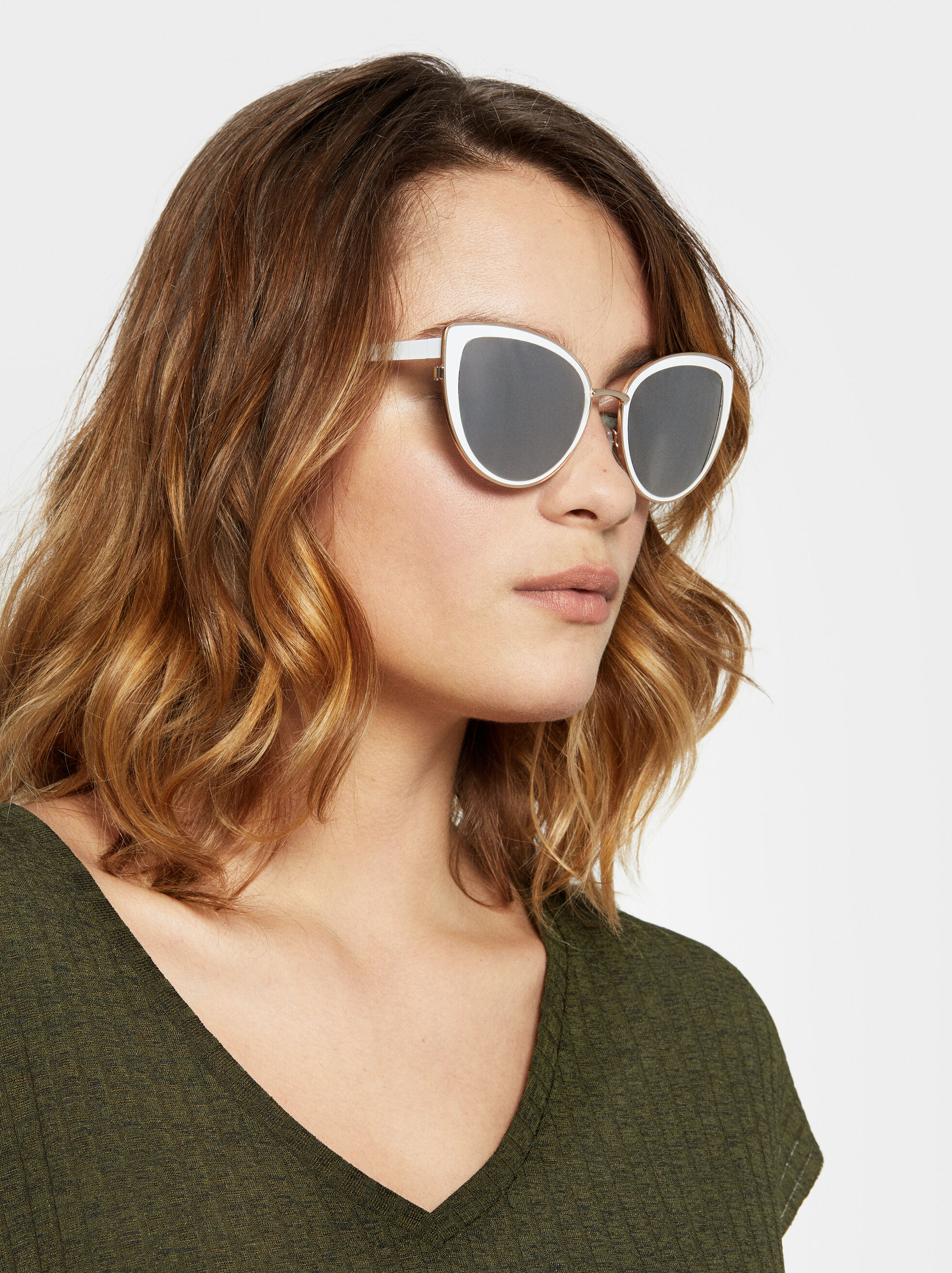 Cat-Eye Sunglasses, White, hi-res