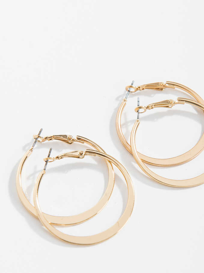 Basic Grandes Hoop-Earrings, Golden, hi-res