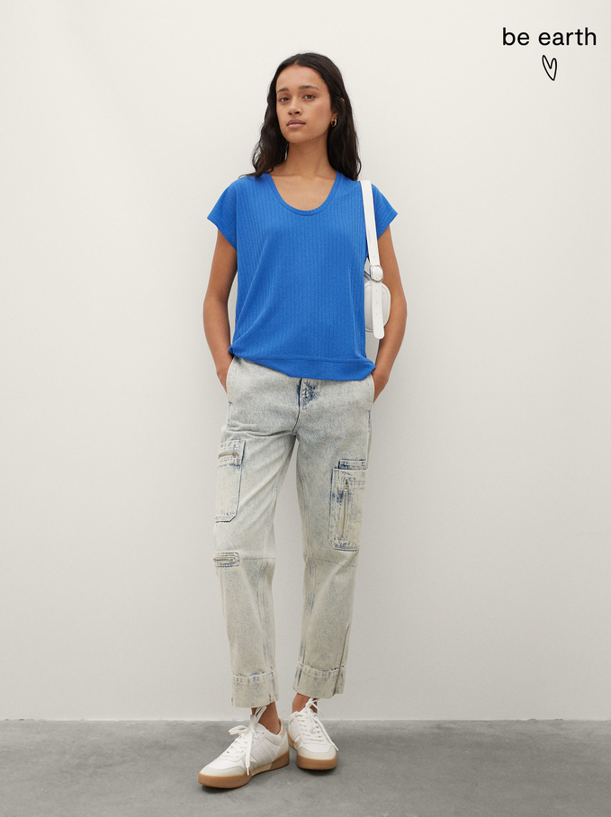 T-Shirt Made From Recycled Materials, Blue, hi-res