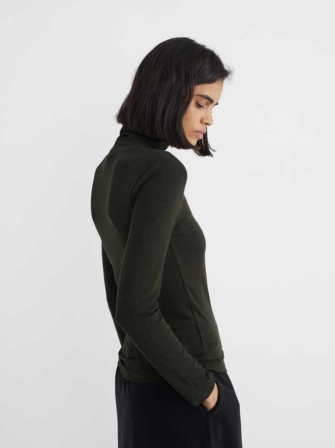 Jersey De Punto Cuello Alto, Verde, hi-res