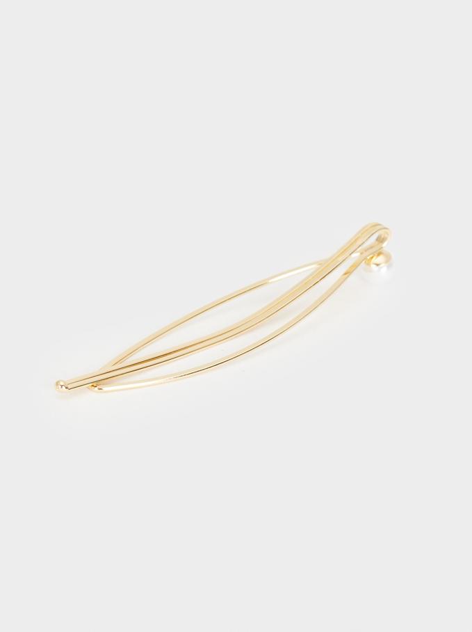Metal Hairclip Set, Golden, hi-res