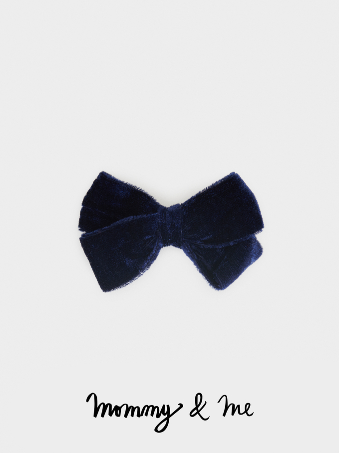 Kid Velvet Hairclip With Bow, Navy, hi-res