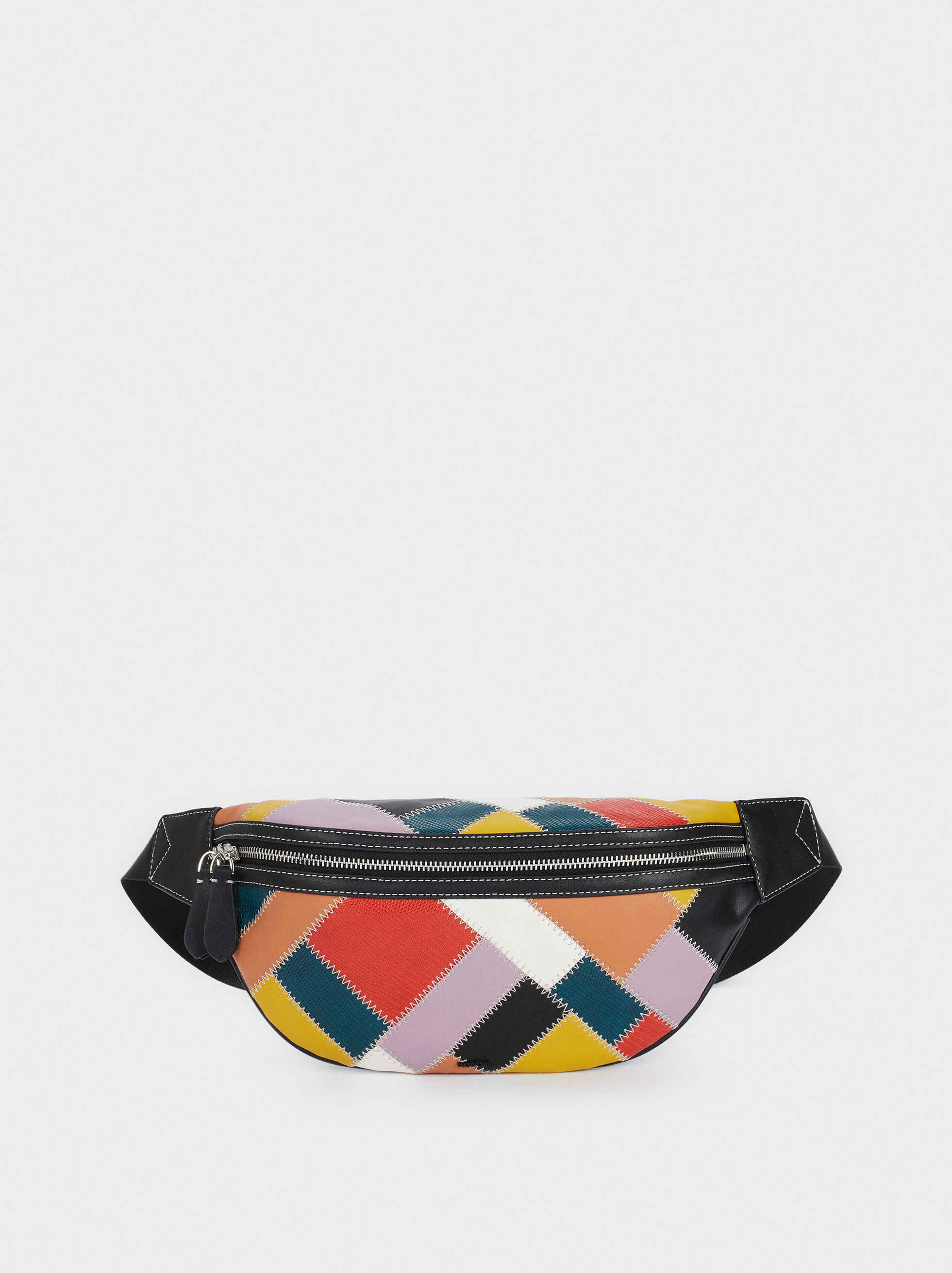 Belt Bag With Multicoloured Patchwork Design, Black, hi-res