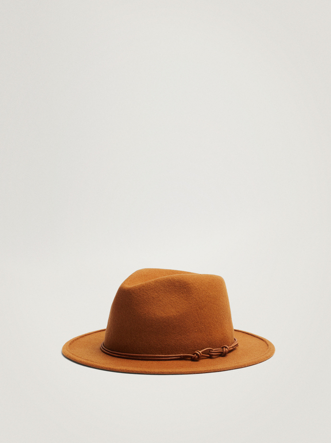 Woollen Hat With Contrast Band, Camel, hi-res
