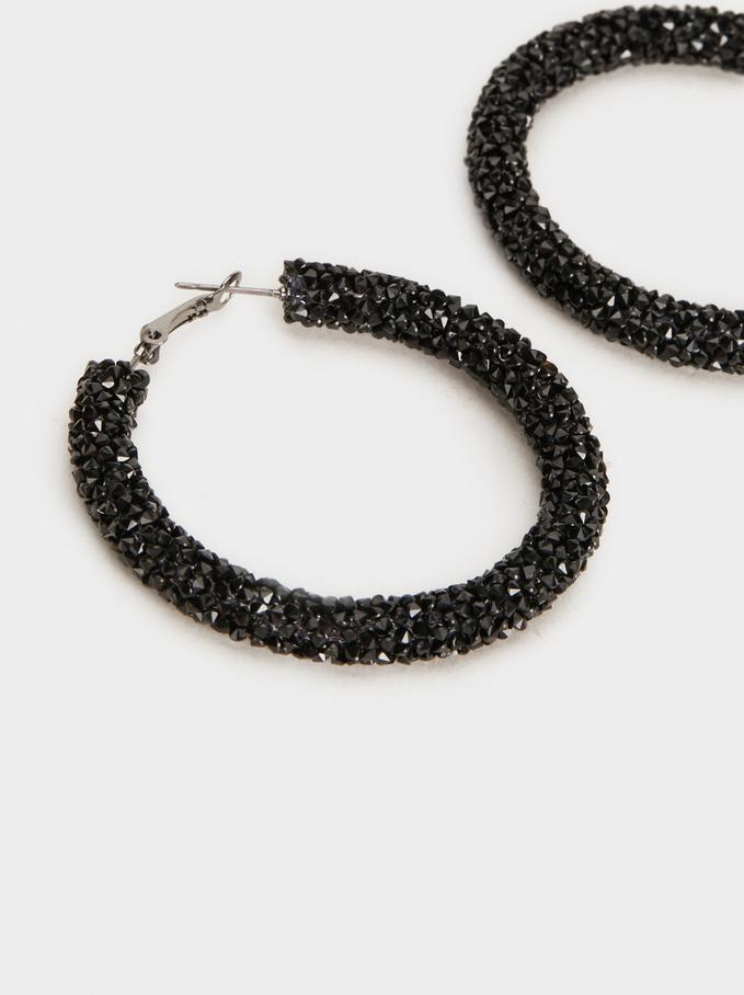 Funky Large Hoop-Earrings, Black, hi-res