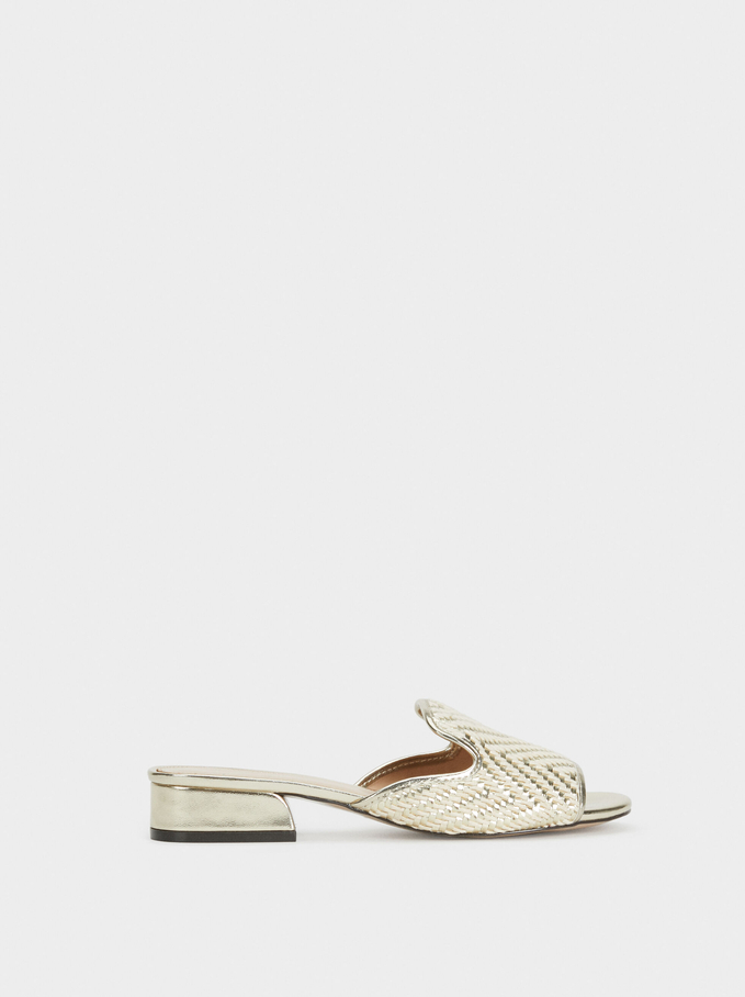 Metallic Mule Sandals Online Exclusive, Golden, hi-res