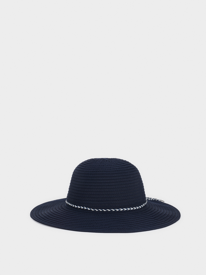 Hat With Matching Ribbon, Navy, hi-res