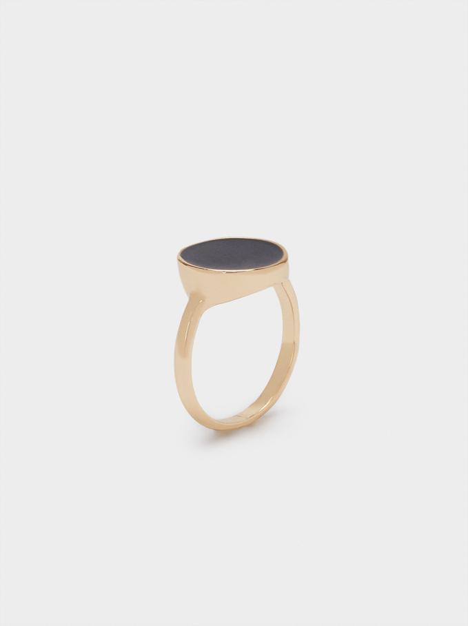 Enamel Signet Ring, Black, hi-res