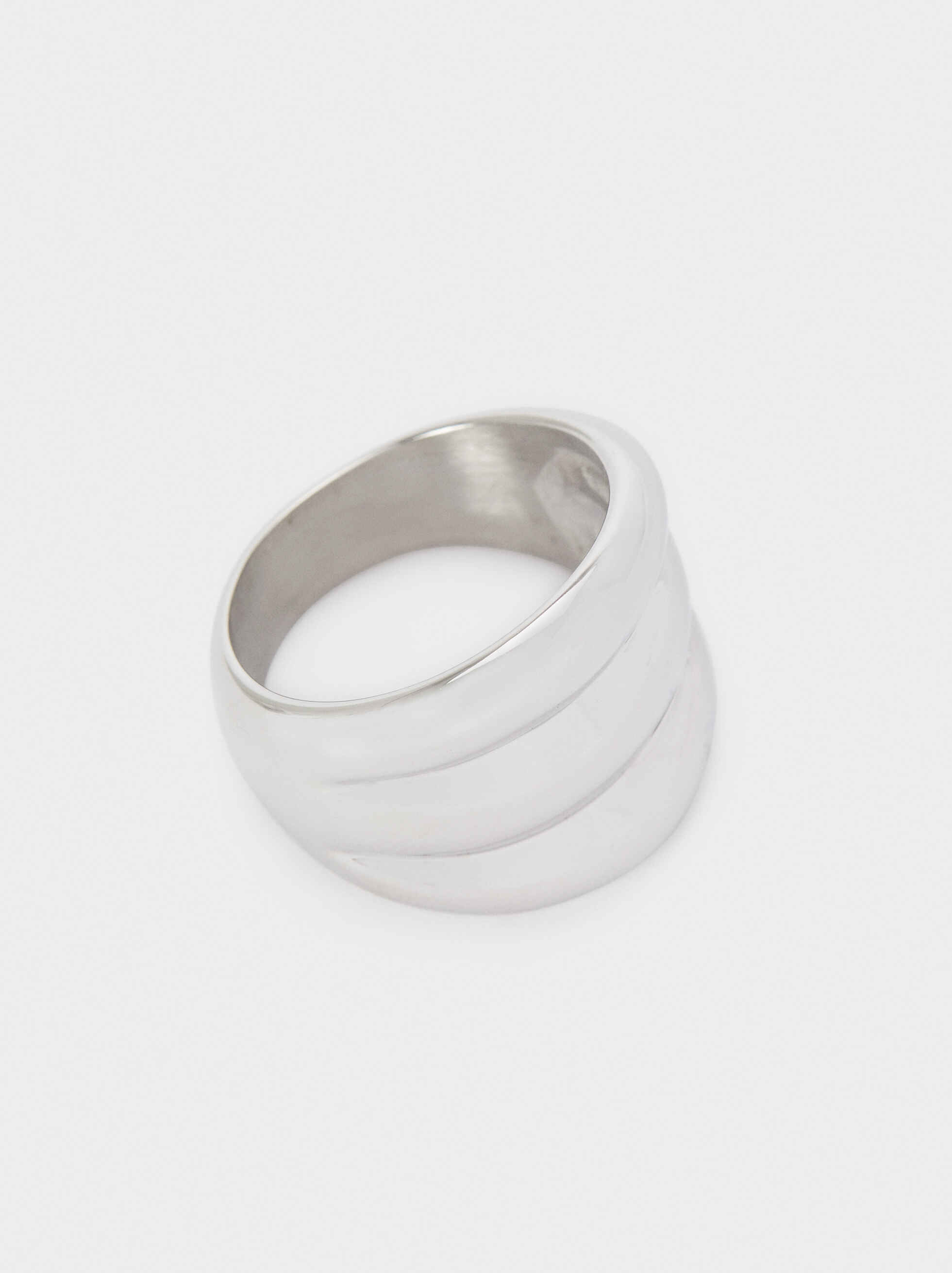 Three-Colour Stainless Steel Ring, Silver, hi-res