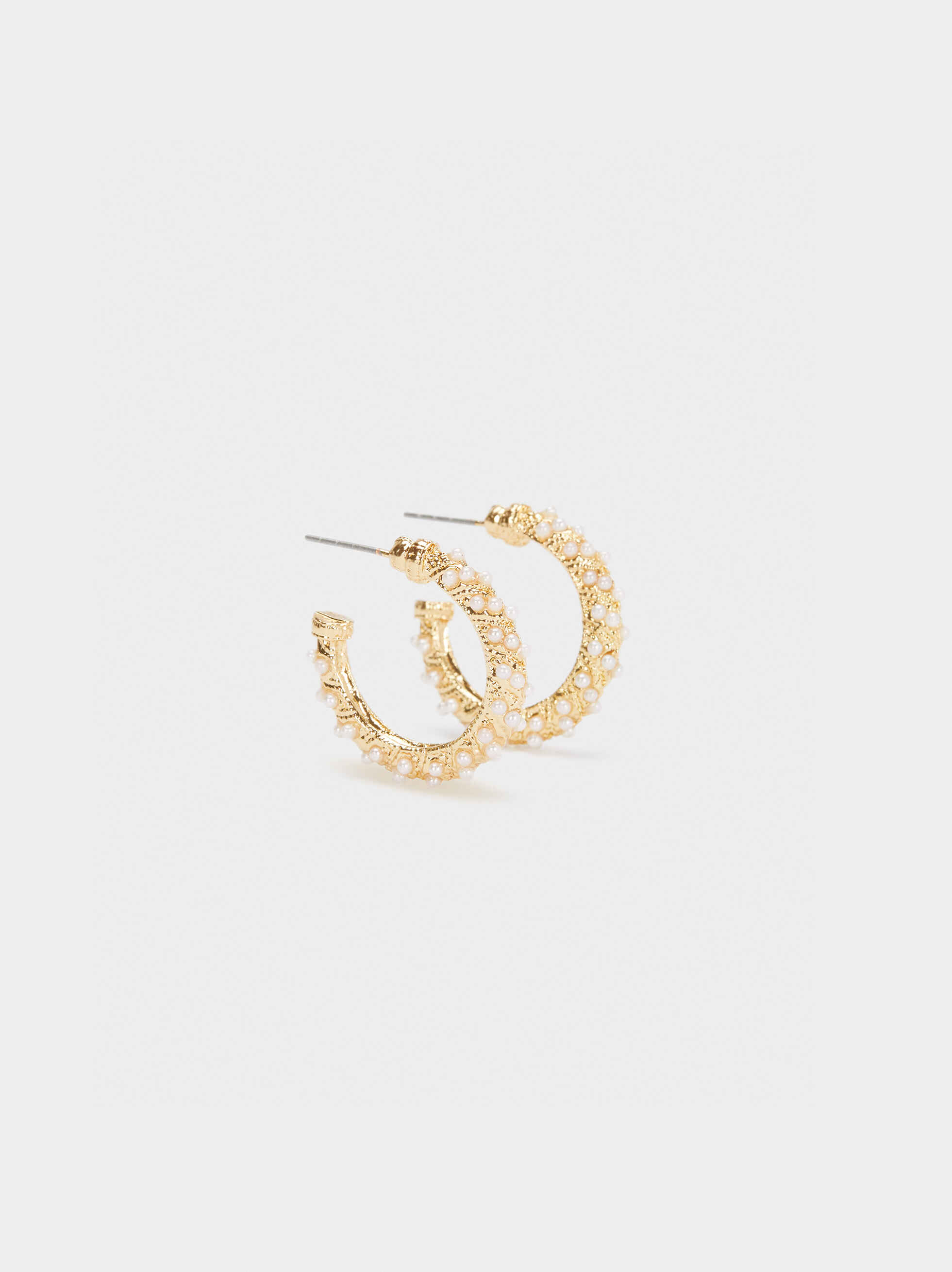 Small Gold Hoop Earrings With Crystal Detail, Golden, hi-res