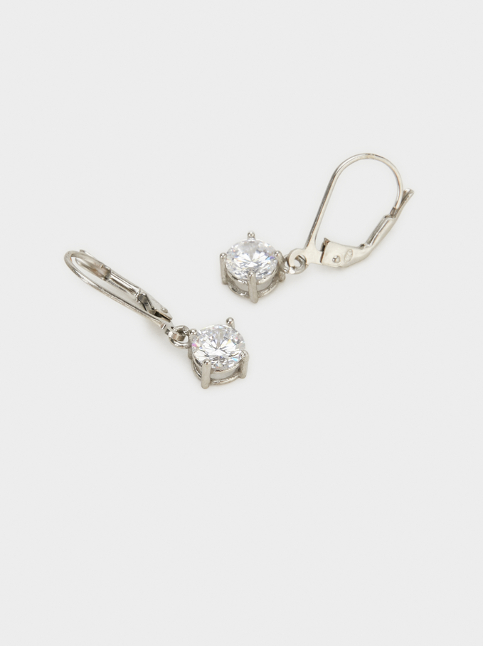 925 Silver Earrings With Rhinestones, Silver, hi-res
