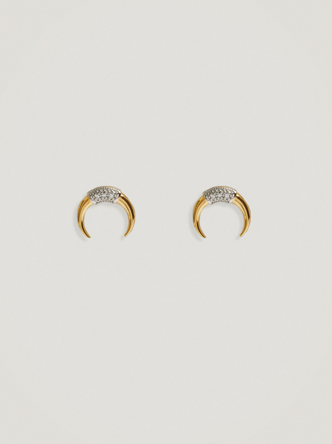 Short 925 Silver Earrings With Horn, Golden, hi-res