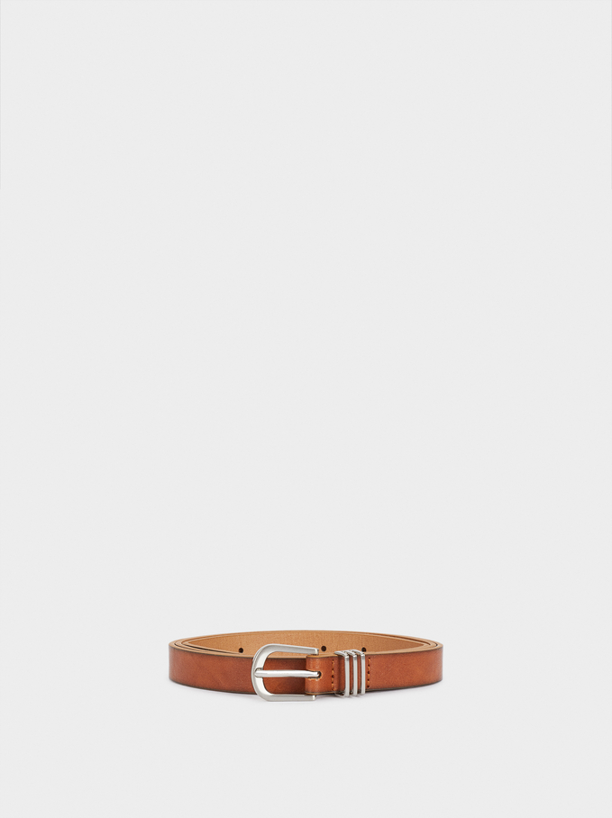 Narrow Belt With Silver-Plated Buckle, Camel, hi-res