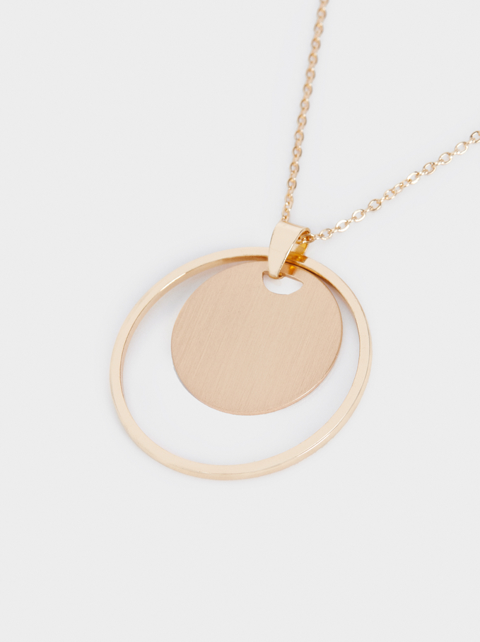 Short Necklace With Gold Pendant, Golden, hi-res