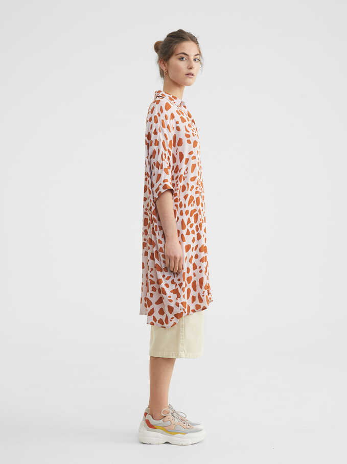 Animal Print Shirt Dress, Pink, hi-res