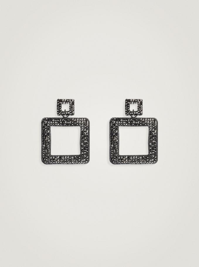 Long Geometric Earrings, Black, hi-res