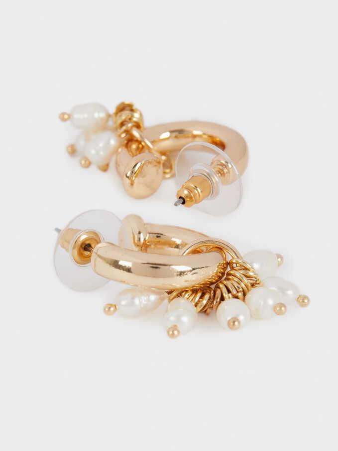 Pendientes Cortos Con Perla De Metal Dorado, Dorado, hi-res
