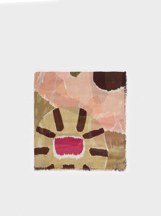 Multicoloured Print Modal Scarf, Pink, hi-res