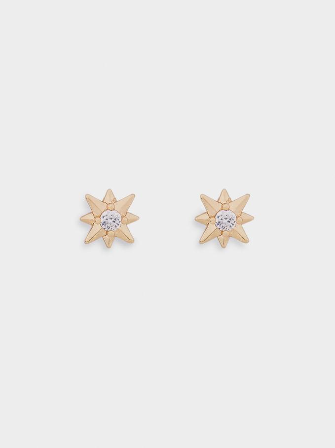 Pendientes Cortos Con Estrella Y Cristal, Dorado, hi-res