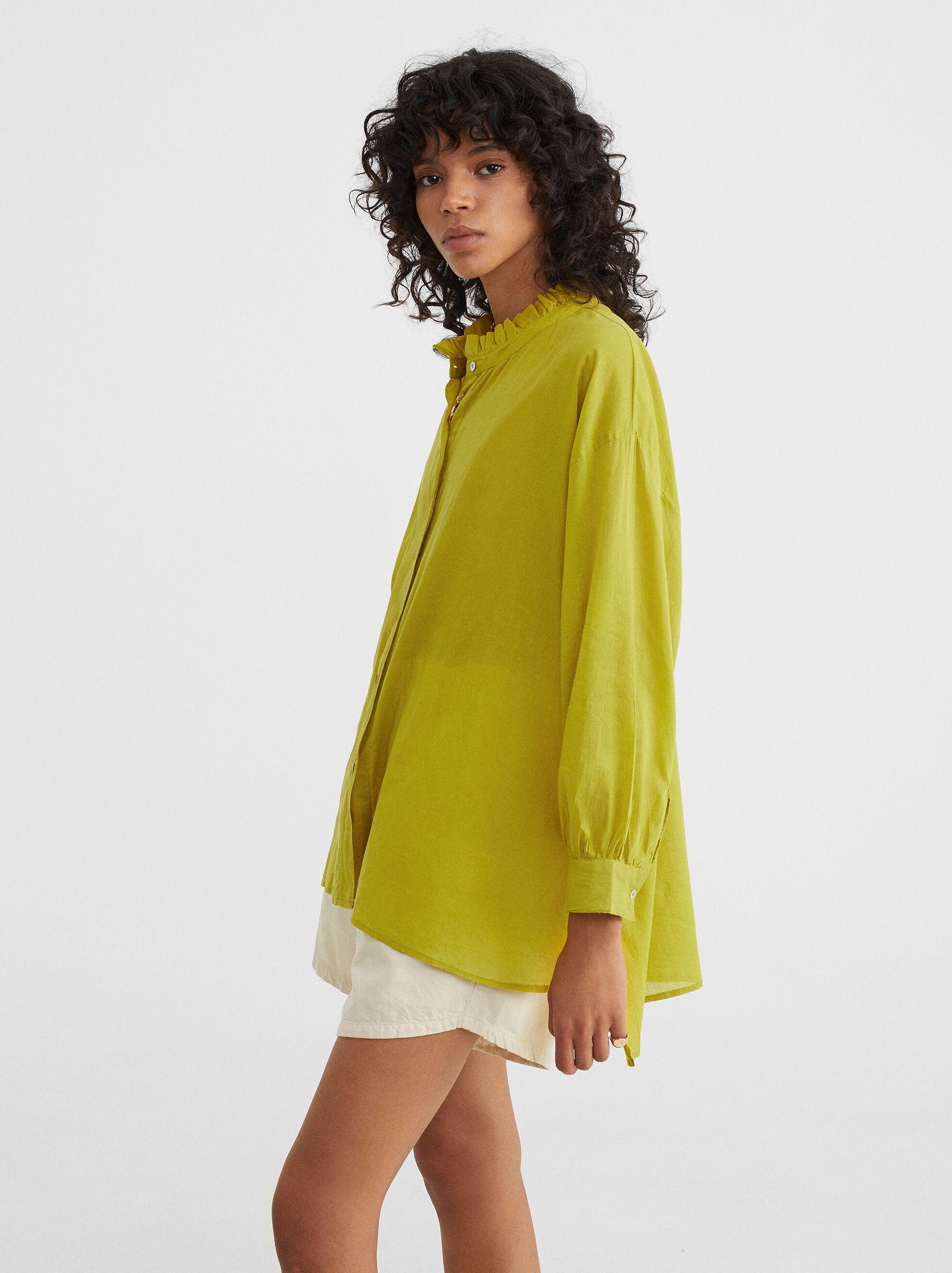Frilled Stand-Up Collar Shirt, Green, hi-res