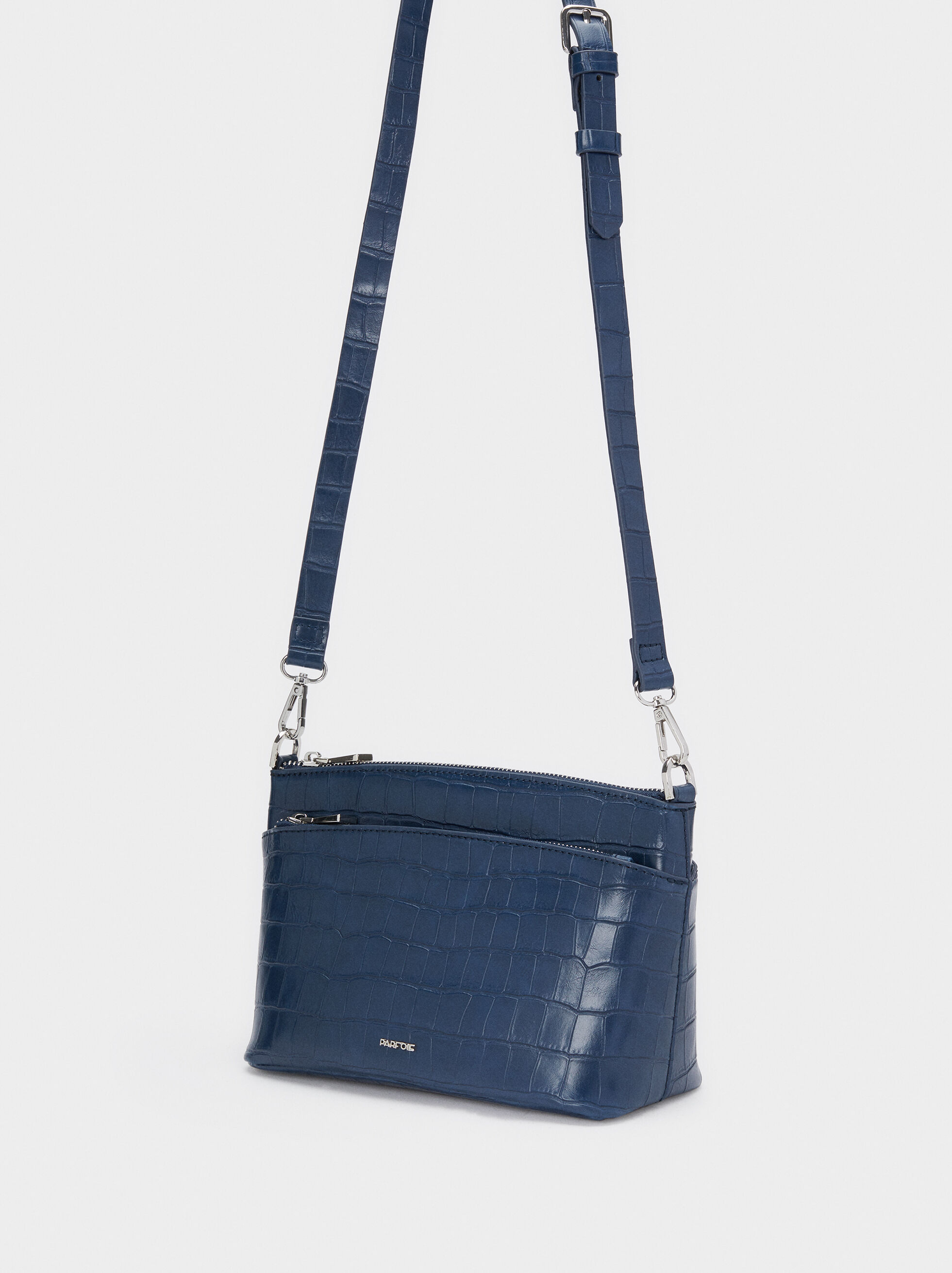 Crossbody Bag With Embossed Animal Print, Navy, hi-res