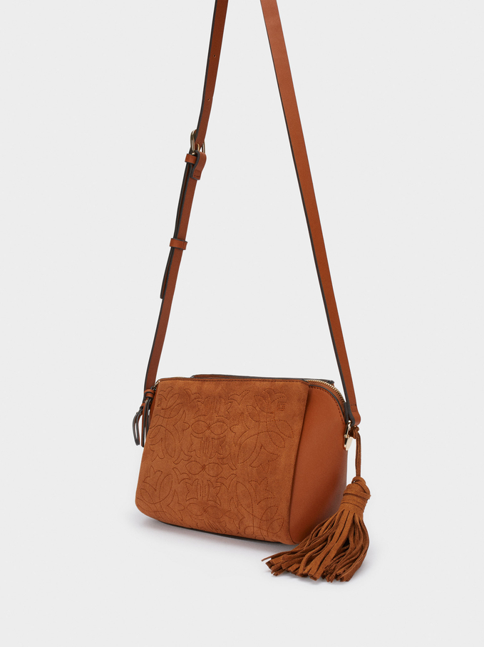 Textured Suede Crossbody Bag With Pendant, Camel, hi-res