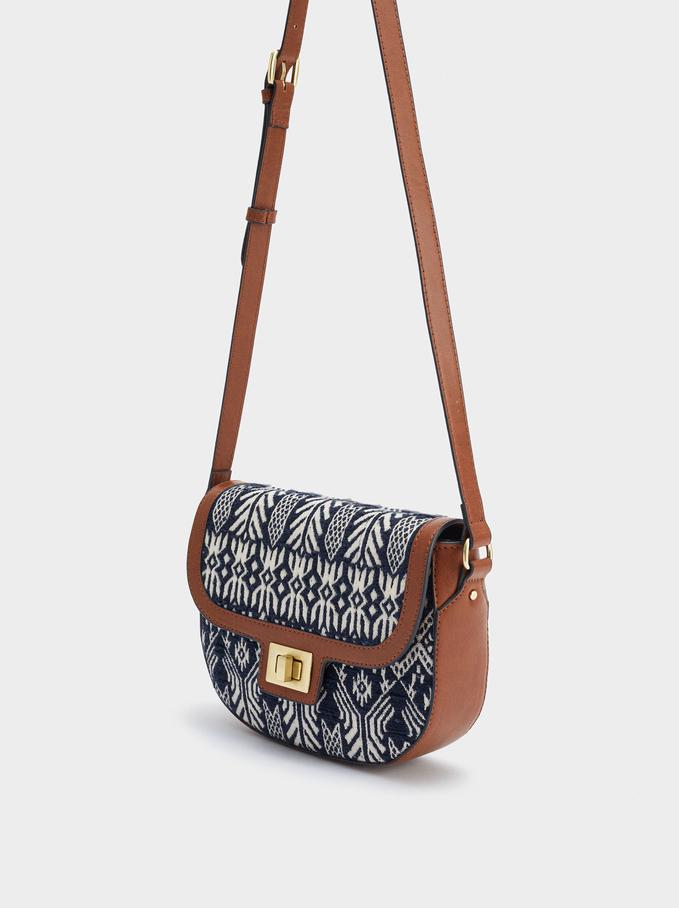 Jacquard Crossbody Bag, Navy, hi-res