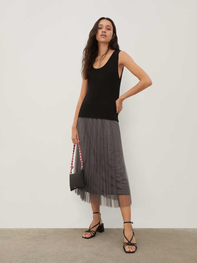 Pleated Skirt With An Elastic Waistband, Grey, hi-res