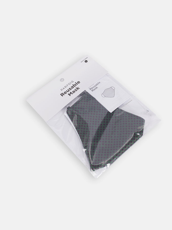 Set Of Scarf And Reusable Face Mask, Green, hi-res