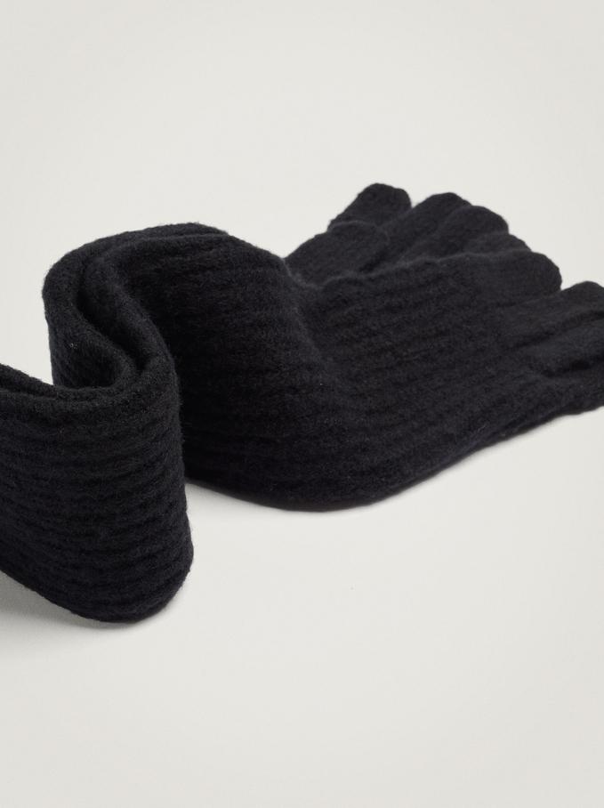 Knitted Gloves, Black, hi-res