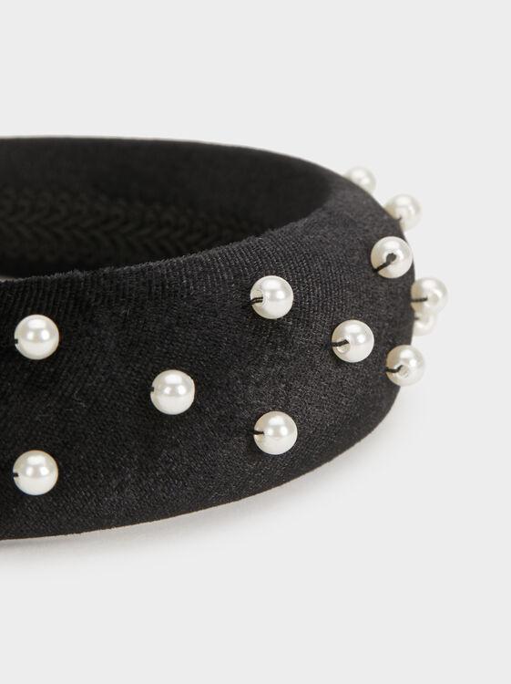 Wide Faux Pearl Headband, Black, hi-res